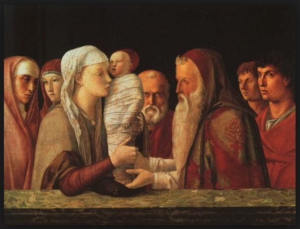 Présentation du petit Jésus au temple de Giovani Bellini. Le tableau se trouve à Venise au musée  Querini.