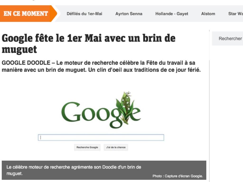 Le moteur de recherche Goggle veut aussi nous porter bonheur avec un brin de muguet
