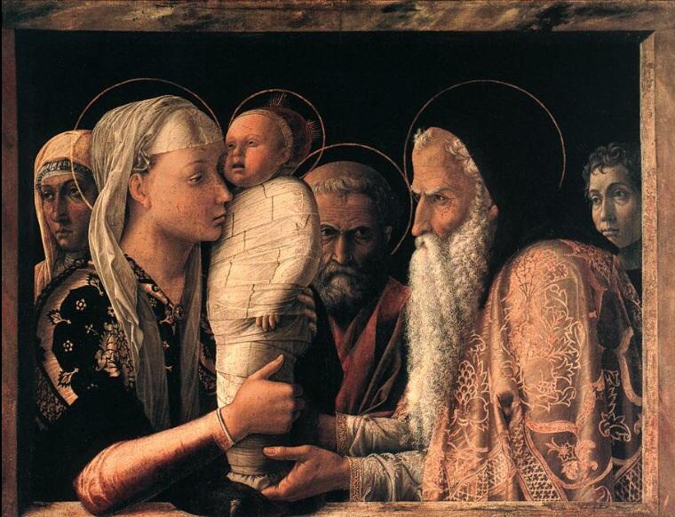 Comparez le tableau de Mantegna avec le tableau de  Giovanni Bellini. Qui est meilleur peintre?  Derrière Jésus, Joseph, en couleur rouge, représente la passion du  Christ. Le beau-père de Mantegna aurait servi de modèle. Derrière Marie, la femme de  Mantegna. Tous les personnages ont l'air de mauvaise humeur, Joseph regarde sévèrement Symenh.