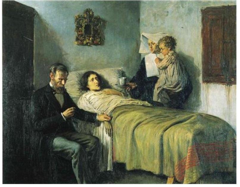Le père pose comme médecin. La malade est une mendiante à qui Picasso a demandé de poser. Le petit garçon est le fils de cette mendiante. La nonne est un garçon déguisé. Picasso a 16 ans.