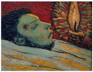 Picasso peint Casagemas sur son lit de mort, bien qu'il ne l'ait pas vu. Nous pouvons voir  sa blessure sur la tempe. La bougie donne à penser.