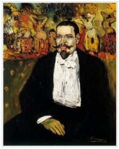 Portrait de Gustave Coquiot (Picasso1901). Picasso fait ce tableau sur le conseil de  Manyac.