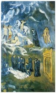L'enterrement de Casagemas (Picasso, 1901)  Cérémonie à laquelle il n'avait pas assisté, puisqu'il se trouvait à Madrid.