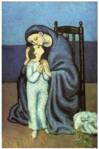 Dans sa periode bleue les personnages sont souvent tendres et un peu tristes. Le sujet de la maternité est très fréquent dans l'oeuvre de Picasso.  Ce qui est paradoxal est qu'il ne sera pas un très bon père.