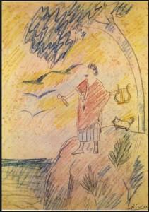 Picasso à Barcelone, 1901: Il fait des petits dessins, semblables à des Bd (bande dessinée), le représentant lui et ses amis, en torero, avec une toge comme un romain, des femmes voluptueuses et recevant des sacs d'argent des marchands de tableaux. Ici son ami Sebastià en toge de romain.