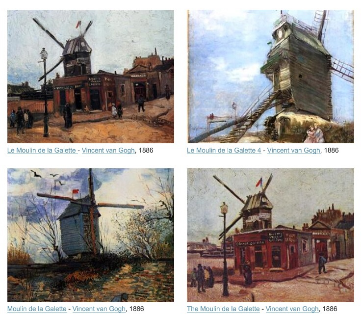 Moulin de la Galette vu par Van Gogh, Toulouse-Lautrec...