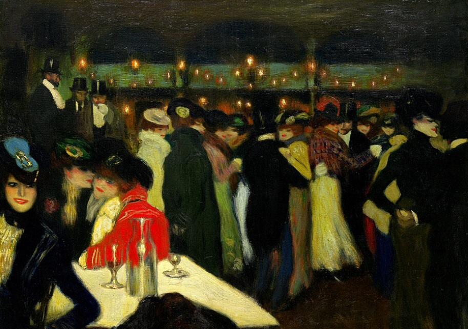Moulin de la galette vue par Picasso (1900). Tout le mode sourit, mais il n'y pas de vraies expressions sur les visages, qui se ressemblent beaucoup.  L'ambiance de cette guinguette a impressionné beaucoup de peintres.