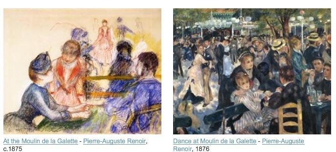 Le moulin de,a galette vue par Renoir, quelques années avant Picasso.