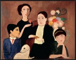 Portait de Marie Laurencin, peintre contemporaine de Picasso. On voit de gauche à droite,  Picasso est sa chienne Fricka, Marie Laurencin, Apollinaire et Fernande.