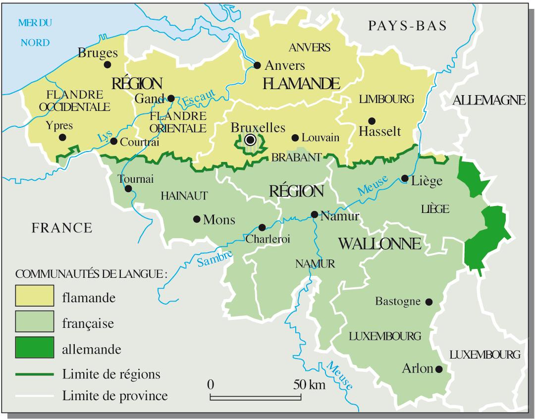 Carte de la Belgique où on voit les différentes communautés de langue