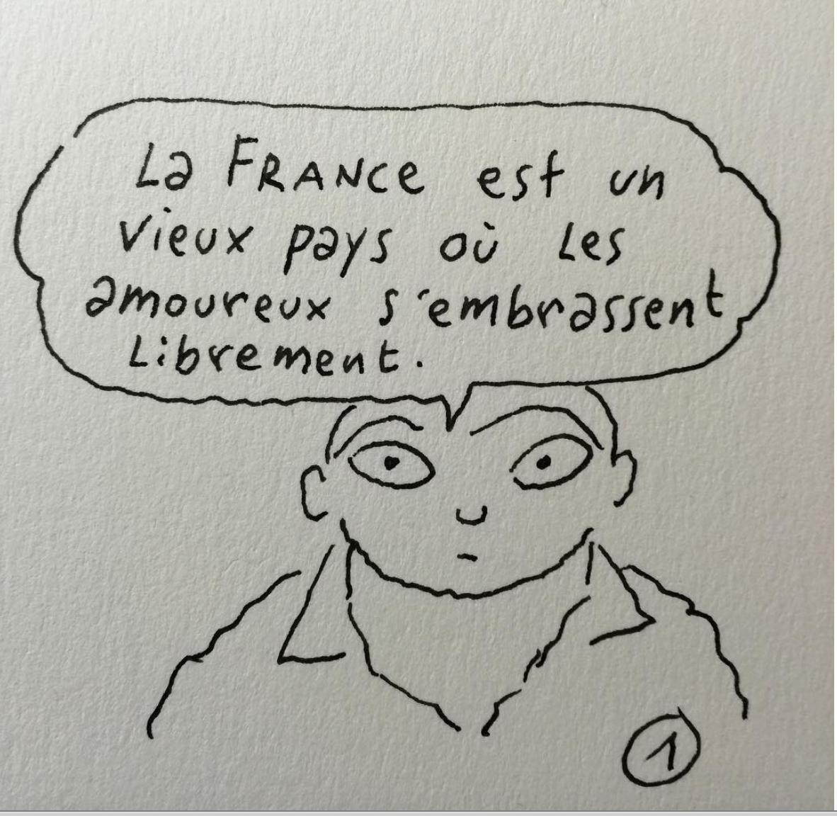 Frankrijk is een oud land waar geliefden elkaar kussen in vrijheid.