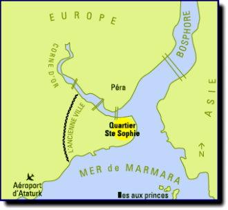 À droite le Bosphore, à gauche la Corne d'Or, estuaire et port naturel.