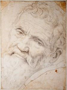 Portrait de Michel-Ange par un contemporain, de la Volterra, qui travailla avec lui. À sa mort ce fut de la Volterra qui cacha les parties du corps 'délicates' au Vatican, avec des feuilles de vignes et draperies.