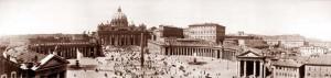 Place de Saint-Pierre à Rome. Il y aurait des plans de la mosquée de Sainte Sophie en Italie, qui ont inflencé les architectes de Saint-Pierre. Selon le roman d'Énard ça serait Michel- Ange qui les a ramenés...