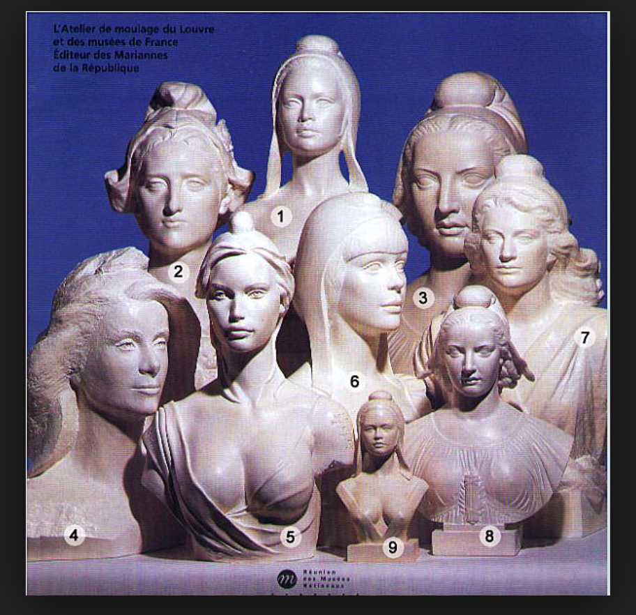 Atelier de moulage du Louvre. Au Louvre se trouvent les moules pour faire les statues de Marianne. Nous voyons différentes Mariannes sur la photo.