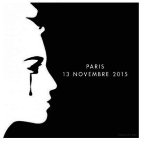 Ici nous voyons Marianne pleurer, après les attentats de Paris de novembre 2015